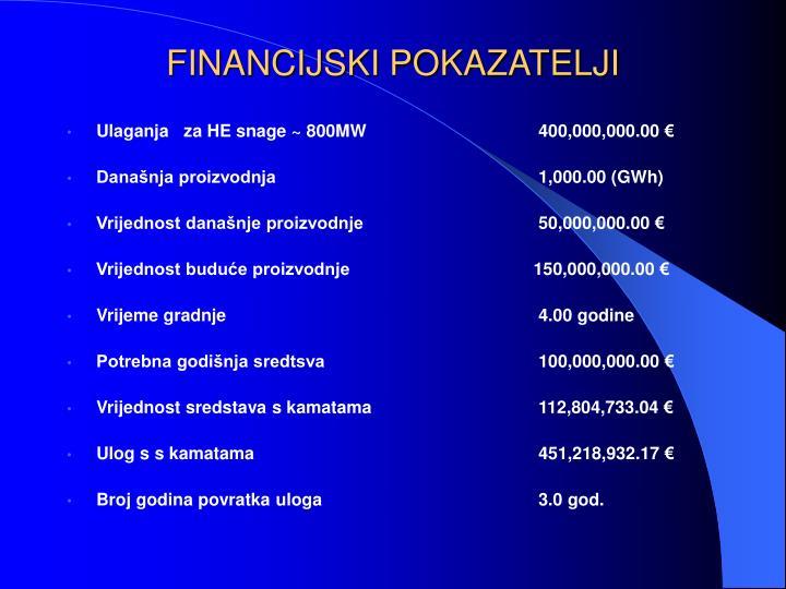 FINANCIJSKI POKAZATELJI