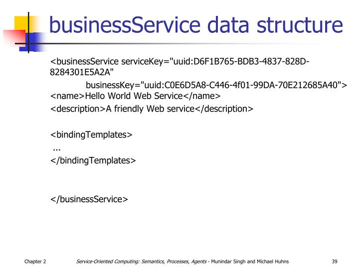 businessService data structure