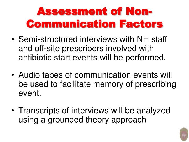 Assessment of Non-Communication Factors