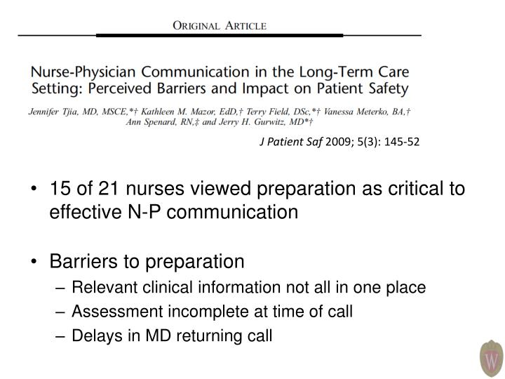 15 of 21 nurses viewed preparation as critical to effective N-P communication