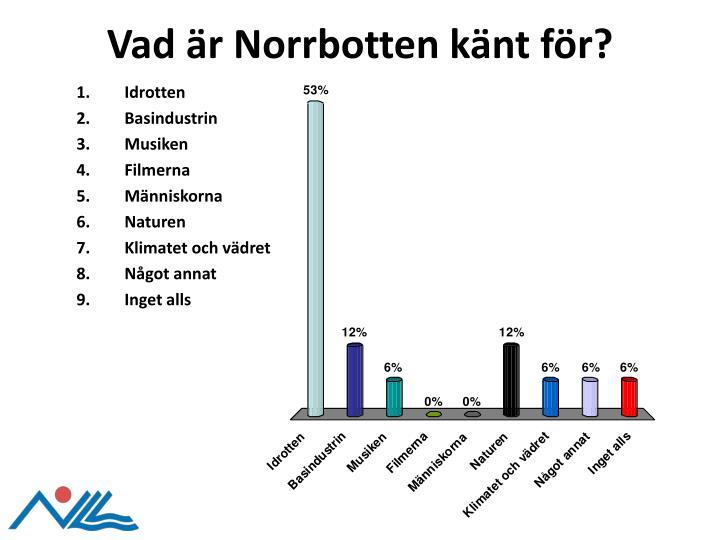 Vad är Norrbotten känt för?