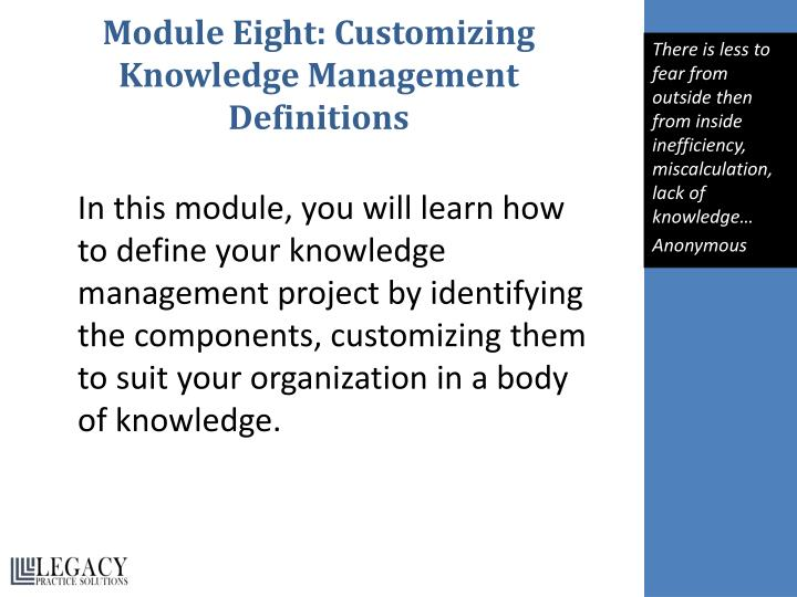 Module Eight: Customizing Knowledge Management Definitions