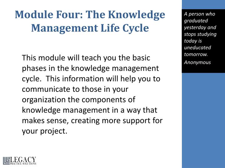 Module Four: The Knowledge Management Life Cycle