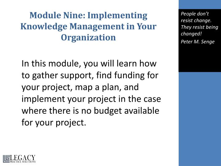 Module Nine: Implementing Knowledge Management in Your Organization