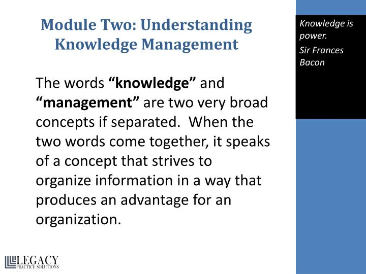 Module Two: Understanding Knowledge Management