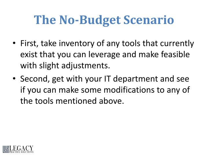 The No-Budget Scenario