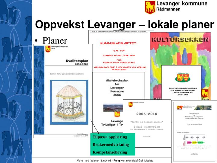Oppvekst Levanger – lokale planer