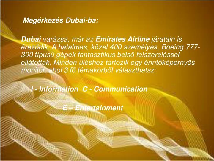 Megrkezs Dubai-ba:
