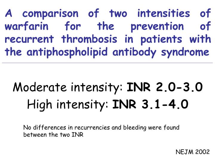A comparison of two intensities of warfarin for the prevention of recurrent thrombosis in patients with the antiphospholipid antibody syndrome