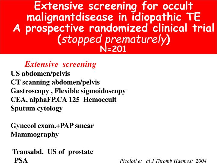 Extensive screening for occult
