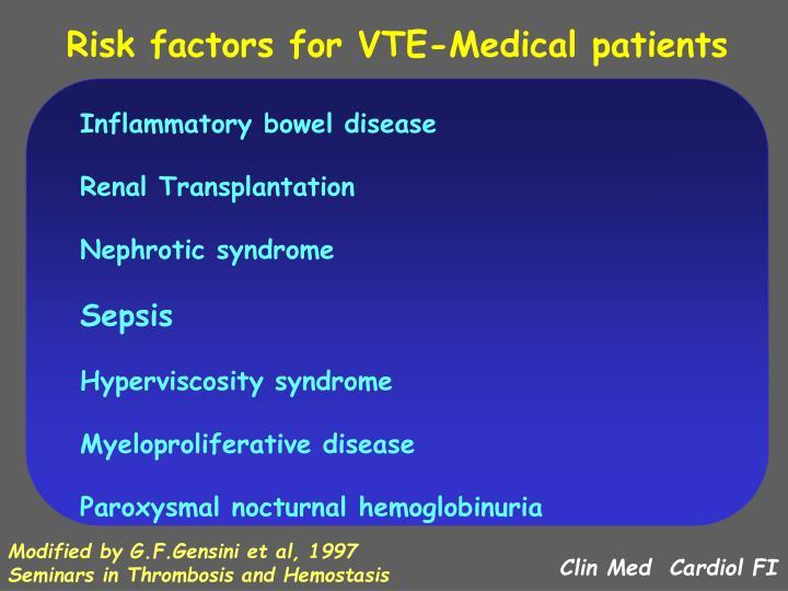 Risk factors for VTE-Medical patients