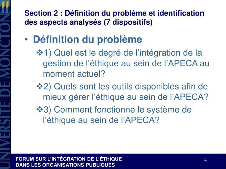 Section 2: Définition du problème et identification des aspects analysés (7 dispositifs)