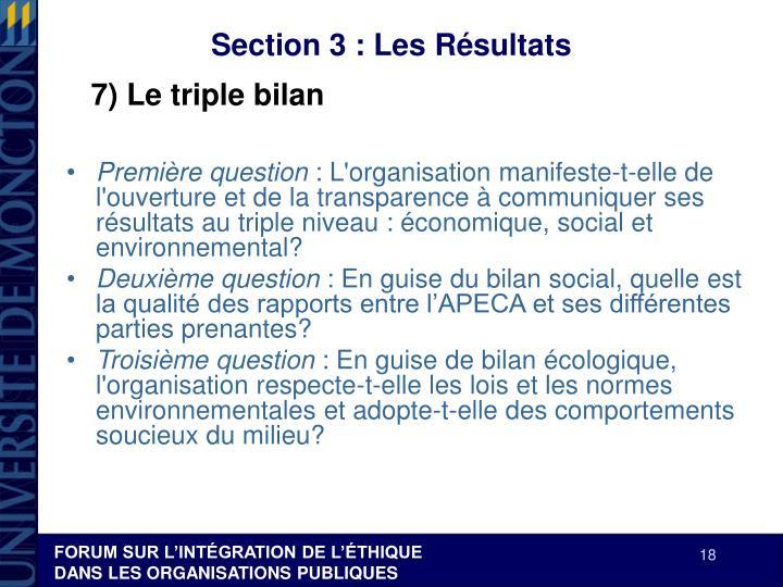 Section 3 : Les Résultats
