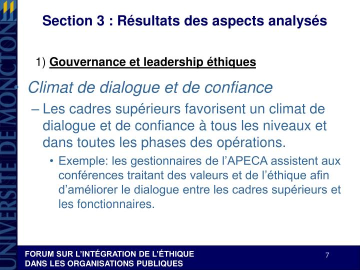 Section 3 : Résultats des aspects analysés