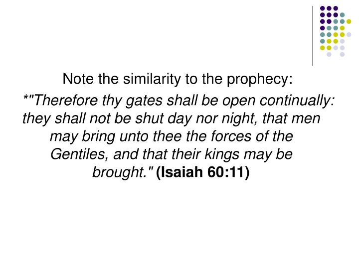 Note the similarity to the prophecy: