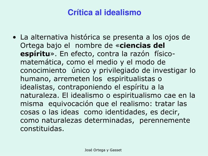Crítica al idealismo
