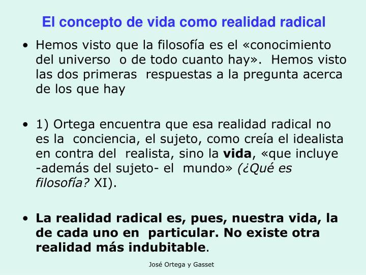El concepto de vida como realidad radical
