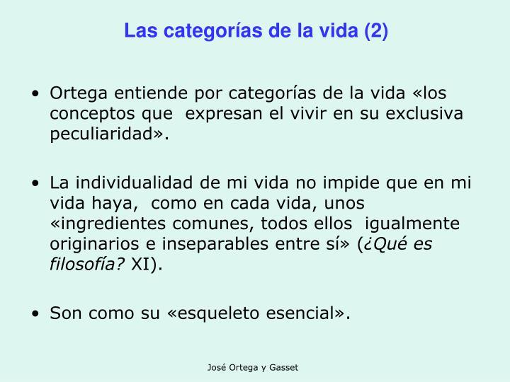 Las categorías de la vida (2)