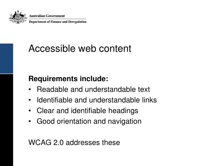 Accessible web content