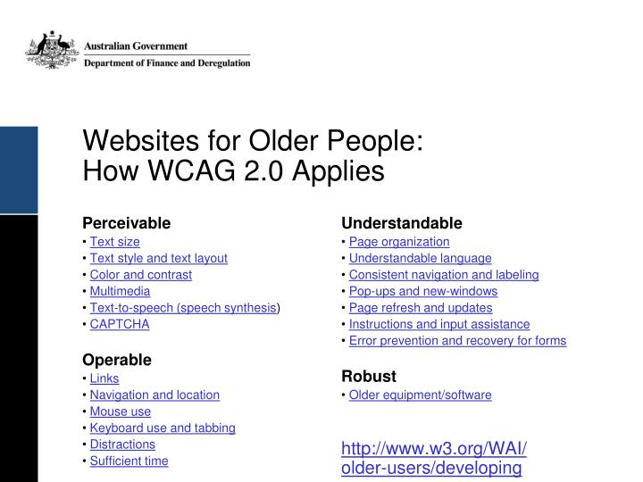 Websites for Older People: