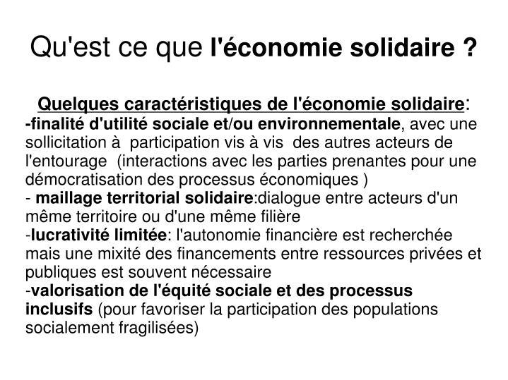 Quelques caractéristiques de l'économie solidaire