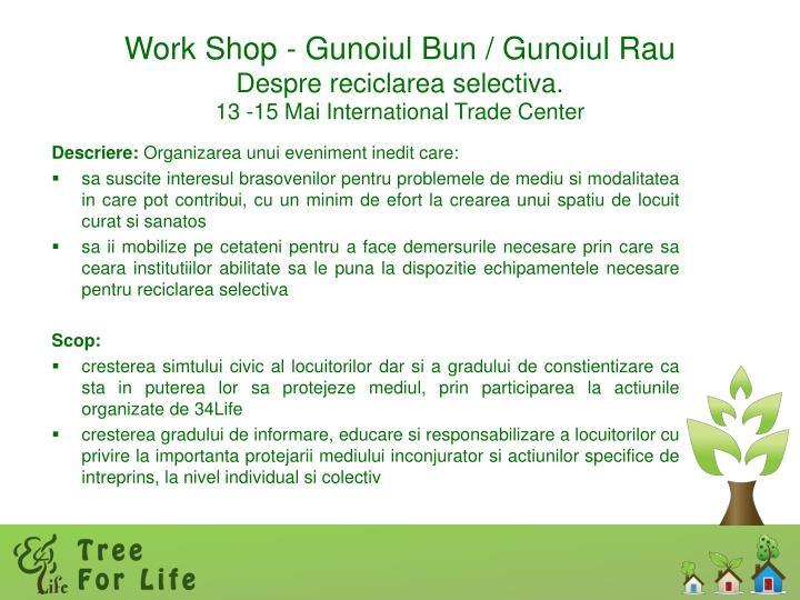 Work Shop - Gunoiul Bun / Gunoiul Rau