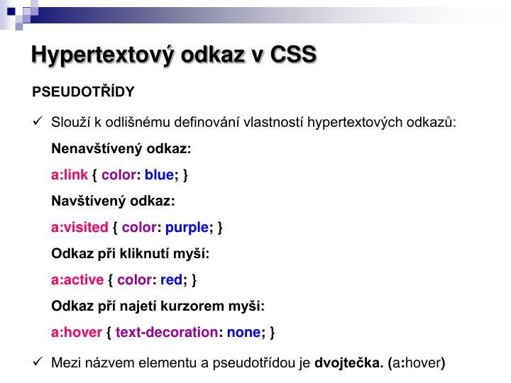 Hypertextový odkaz v CSS