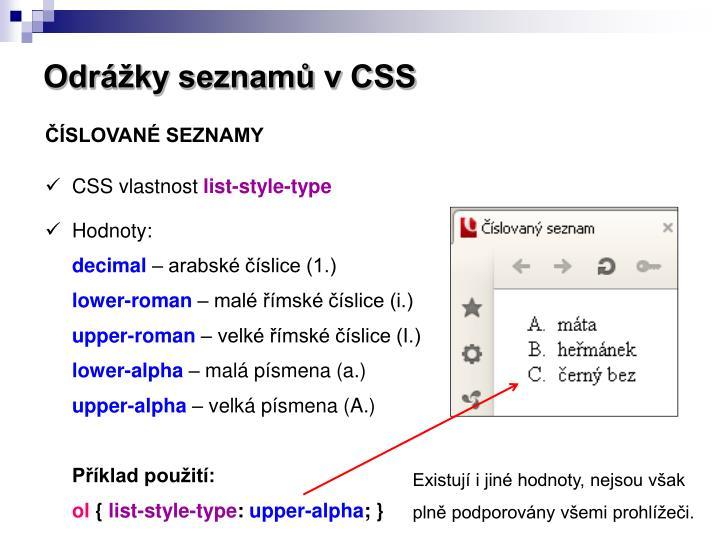 Odrážky seznamů v CSS