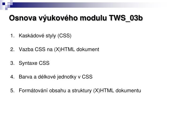 Osnova výukového modulu TWS_03b