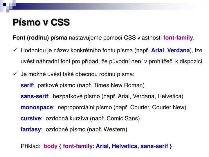 Písmo v CSS