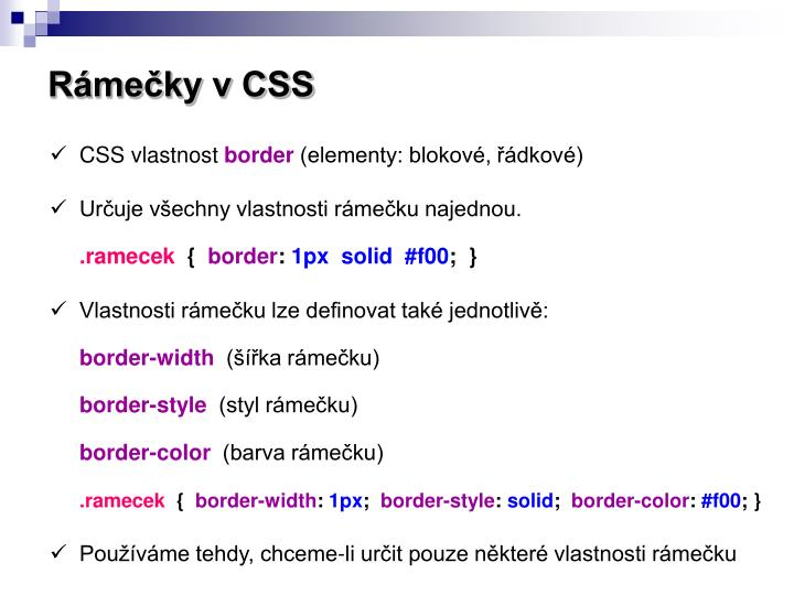 Rámečky v CSS