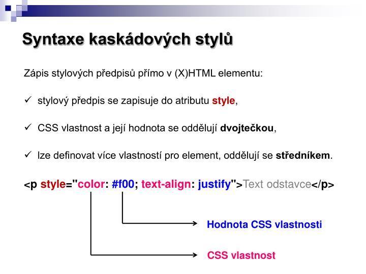 Syntaxe kaskádových stylů