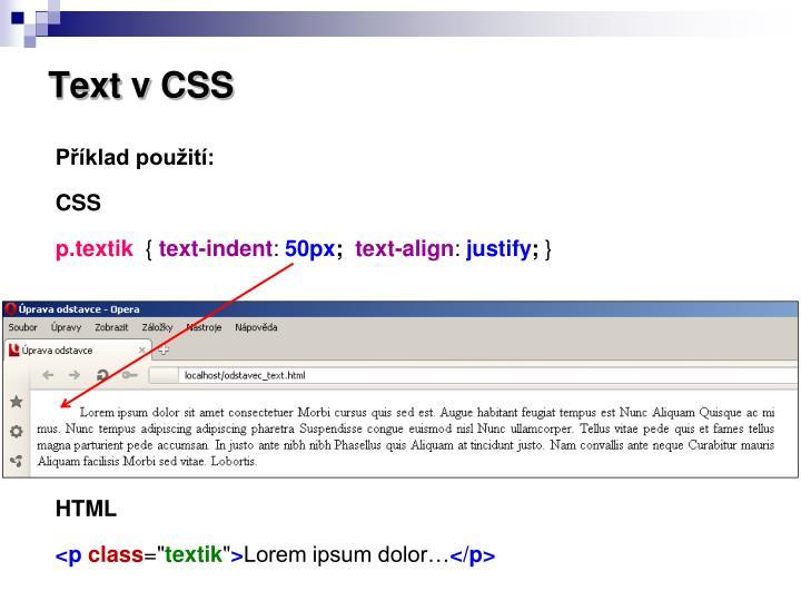 Text v CSS