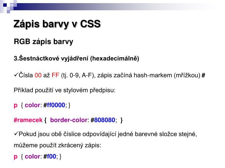Zápis barvy v CSS