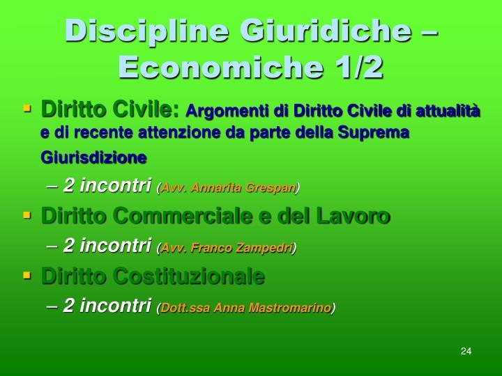 Discipline Giuridiche – Economiche 1/2