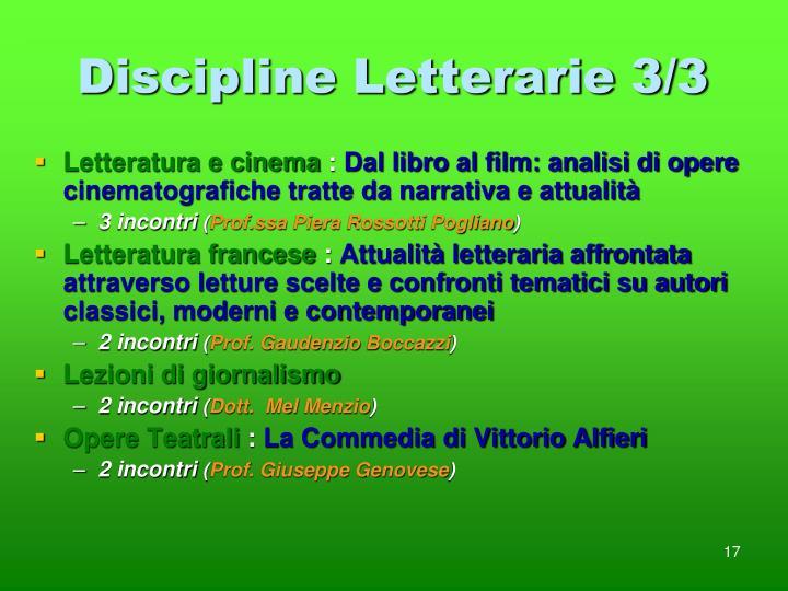 Discipline Letterarie 3/3