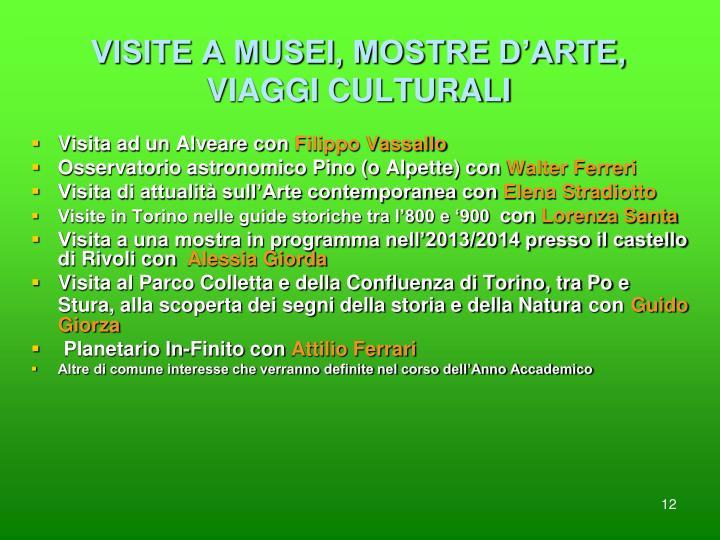VISITE A MUSEI, MOSTRE D'ARTE, VIAGGI CULTURALI