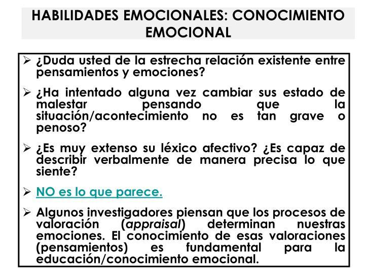 HABILIDADES EMOCIONALES: CONOCIMIENTO EMOCIONAL