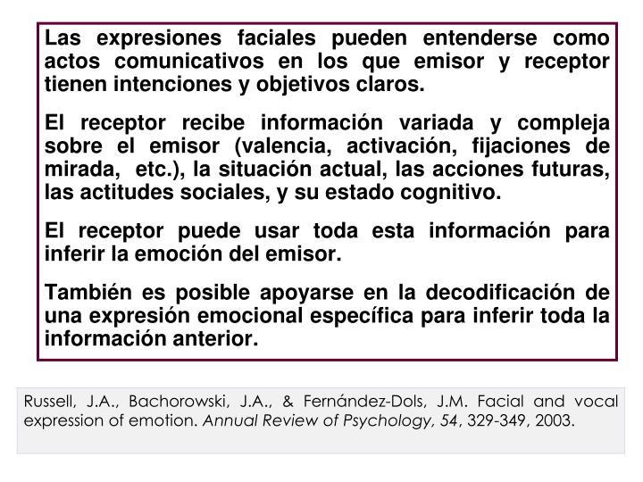 Las expresiones faciales pueden entenderse como actos comunicativos en los que emisor y receptor tienen intenciones y objetivos claros.