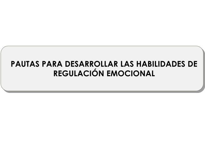 PAUTAS PARA DESARROLLAR LAS HABILIDADES DE REGULACIÓN EMOCIONAL