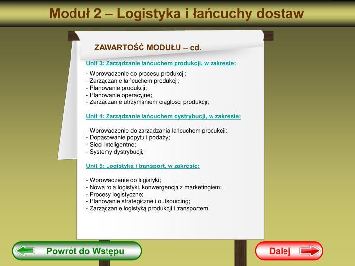 Moduł 2 – Logistyka i łańcuchy dostaw