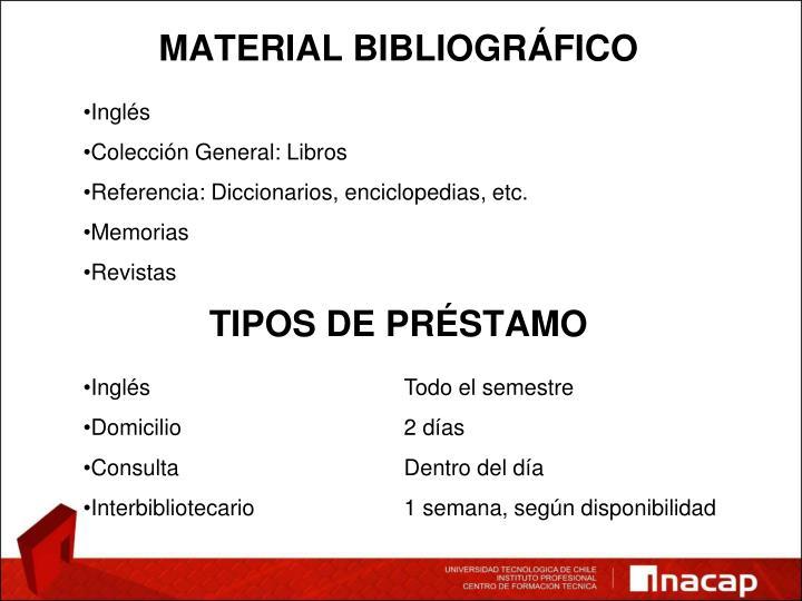 MATERIAL BIBLIOGRÁFICO