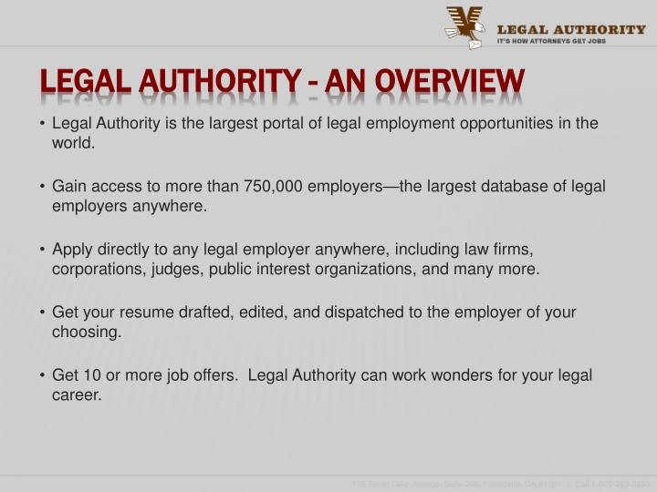 Legal authority an overview