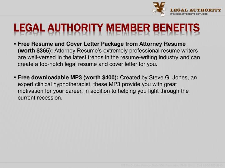 Legal Authority Member Benefits