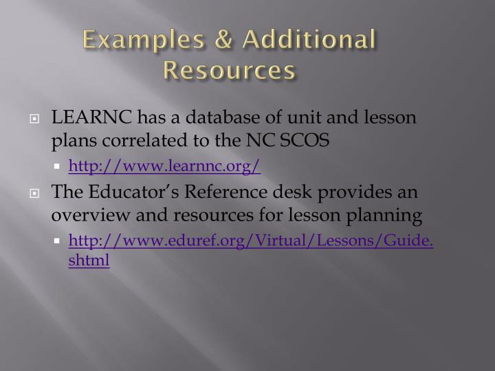Examples & Additional Resources