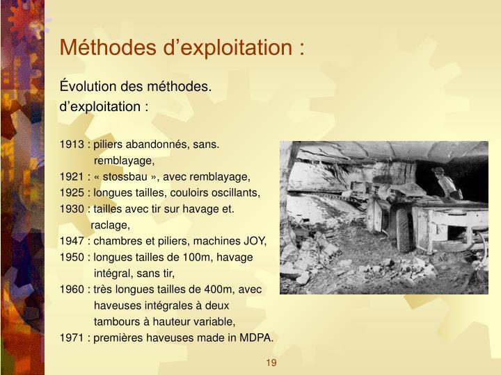 Méthodes d'exploitation :