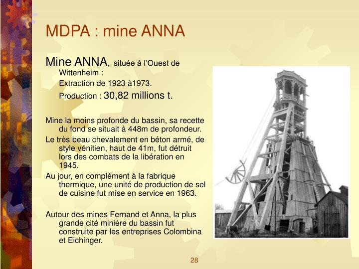 MDPA : mine ANNA