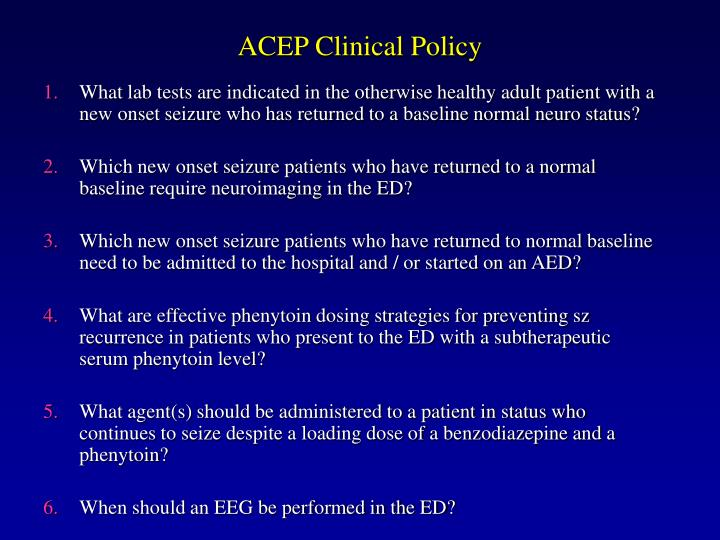 ACEP Clinical Policy