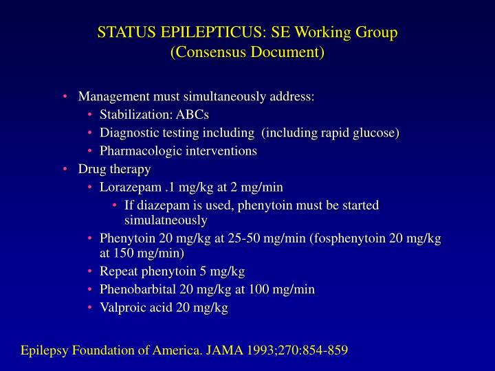STATUS EPILEPTICUS: SE Working Group