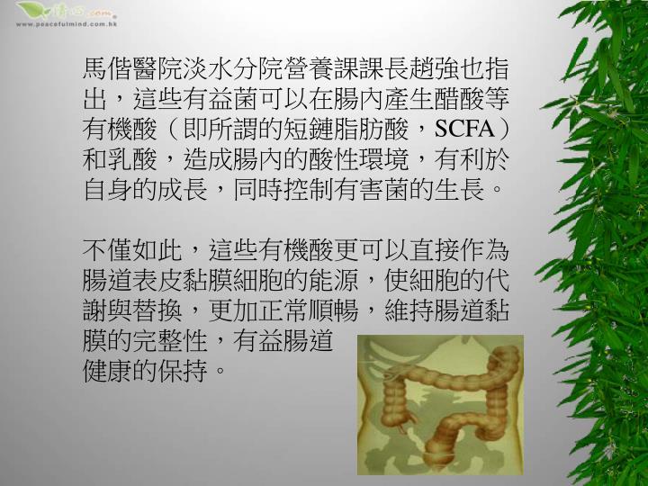 馬偕醫院淡水分院營養課課長趙強也指出,這些有益菌可以在腸內產生醋酸等有機酸(即所謂的短鏈脂肪酸,